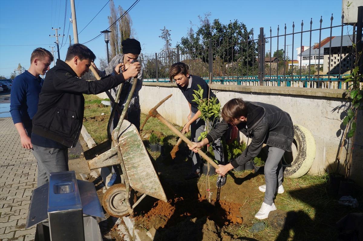 Okul bahçesine meyve fidanı dikildi