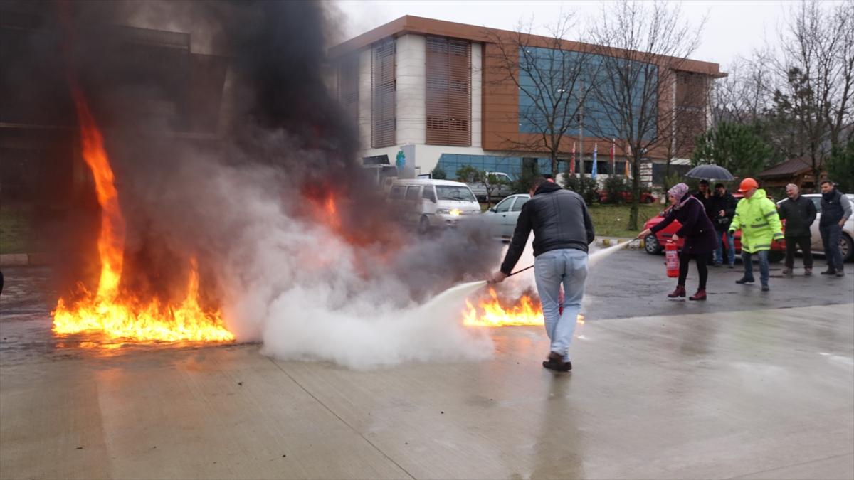 Arsin'de yangın eğitimi