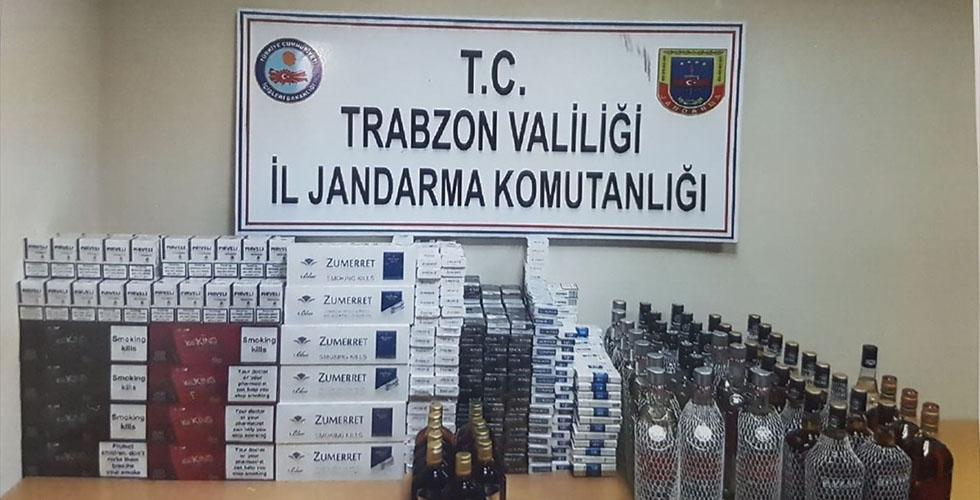Trabzon'da kaçak sigara ve içki ele geçirildi