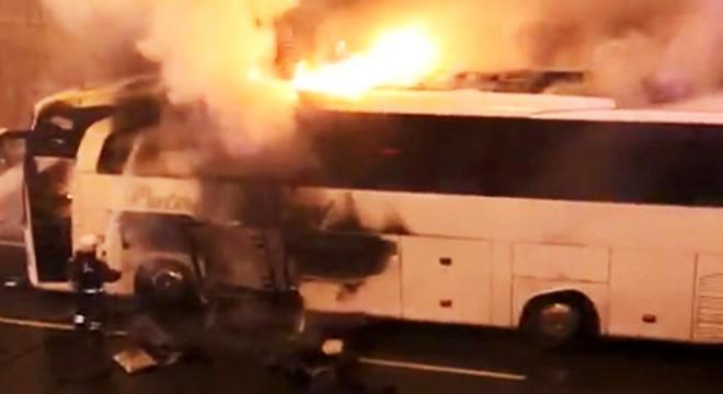 Trabzon'da otobüs yandı!