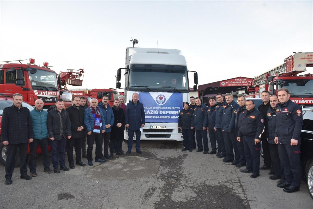 Trabzon'dan Elazığ'daki deprem bölgesine ekip ve yardım desteği