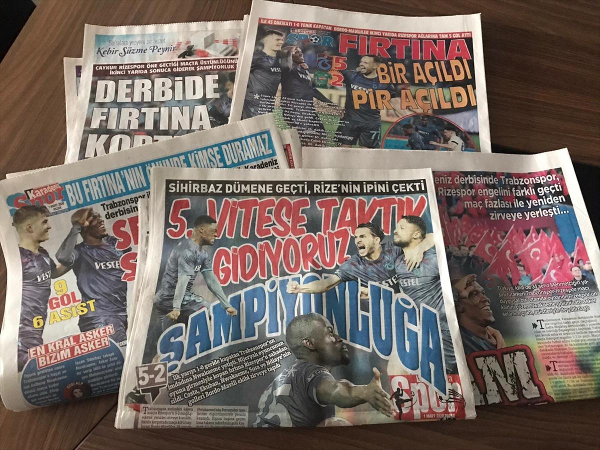 Trabzon yerel basınında Çaykur Rizespor galibiyetinin yankıları