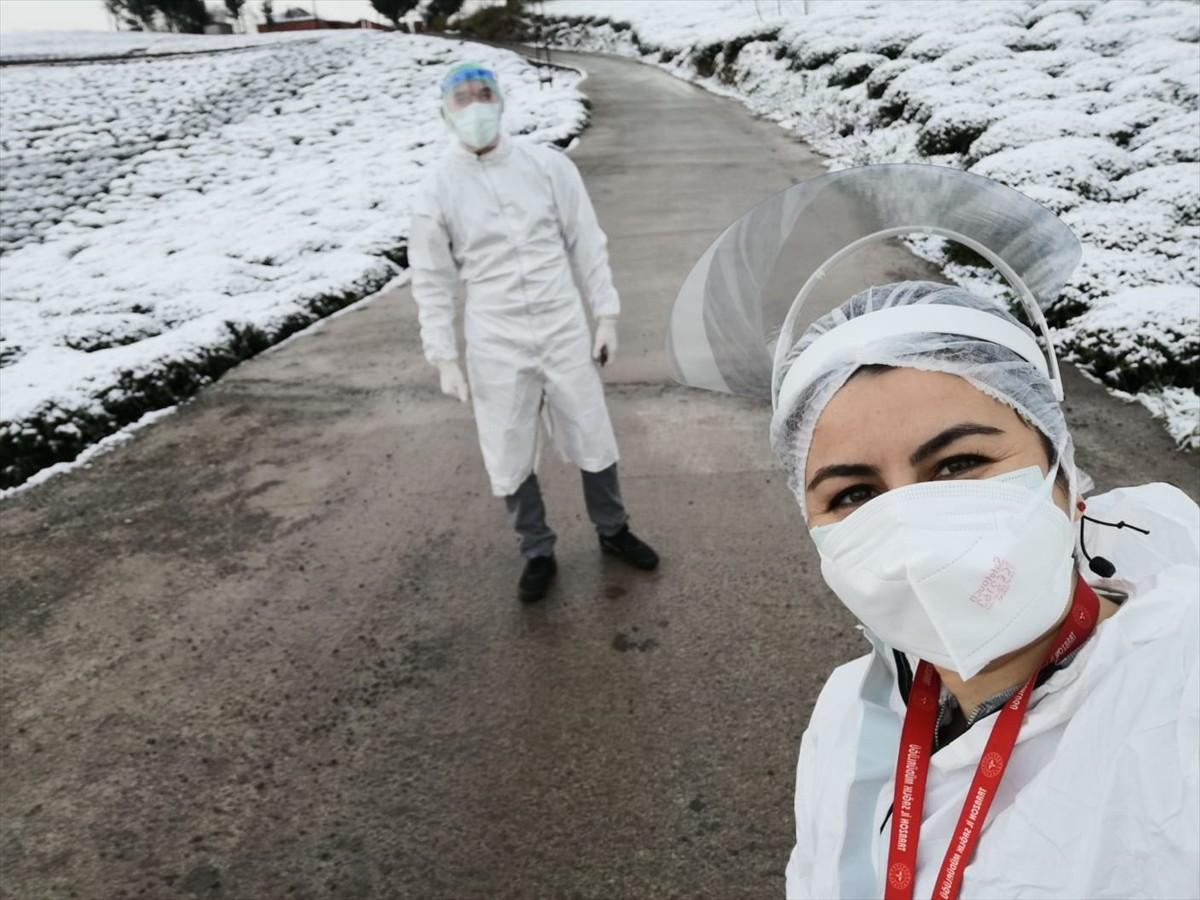 Kovid-19'la mücadelenin kahramanları filyasyon ekipleri karlı bölgelerde de görev başında